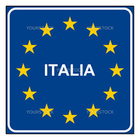 Italy road sign on European flag with stars, isolated on white background with copy space.