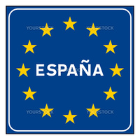 Spain or Spanish road sign on European flag with stars, isolated on white background with copy space.