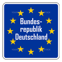 Germany road sign on European flag with stars, isolated on white background with copy space.