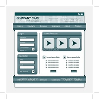 Website template design, gray corporate style, patterned banner, login module and stylish navigation bars