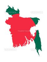 Illustration of Bangladesh flag on map of country  isolated on white background.