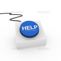 3d button blue help push control sign switch