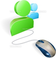 A mouse connected to a social media icon. Concept for online social networking.