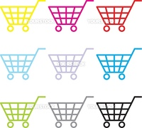 Multi-coloured consumer's baskets in the vector image