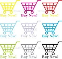Multi-coloured baskets with the text - buy now!