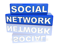 3d blue boxes with text social network