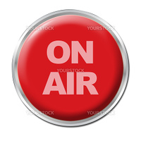 a round red button with a warning ON AIR