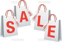 sale with white shopping bags, vector background