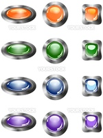 round, oval and square buttons for Web site, Internet.