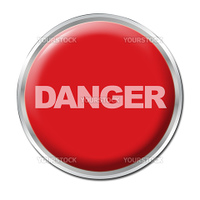 Red round button with the word DANGER