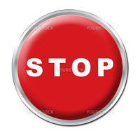 Red round button with the word STOP