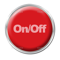Red round button with the symbol On/Off