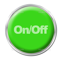 Green round button with the symbol On/Off