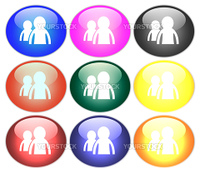 People on colored buttons (illustration)