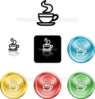 Several versions of an icon symbol of a stylised coffee cup