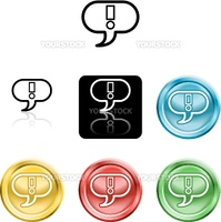 Several versions of an icon symbol of a stylised exclamtion mark in a speach bubble