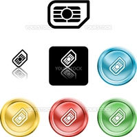 Several versions of an icon symbol of a stylised mobile phone sim card