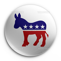3d rendering of a badge with the democratic logo