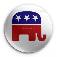3d rendering of a badge with the republican logo