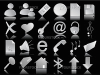 grey icons vector set on the black background