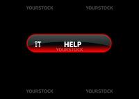 red neon web button help. black background