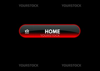 red neon web button home, black background