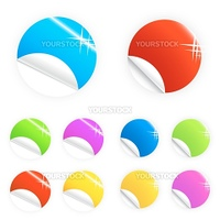 Vector illustration of colorful glossy retail stickers, tags and buttons in different colors. Two sets.