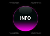 one pink neon button info, black background