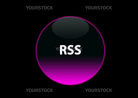 one pink neon button rss, black background