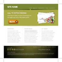 Modern website template with nice button - green