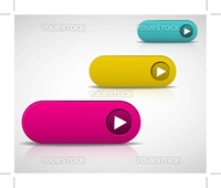 set of empty buttons - purple, yellow and blue