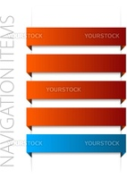 modern red navigation items on white background (vector)