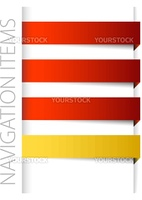 Modern red navigation items in right bar on white background (vector)