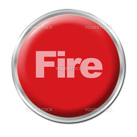 Red round button with the word Fire