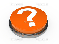 3d button orange with question mark sign
