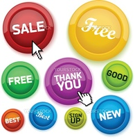 Cool glossy buttons for your business website. Vector illustration.