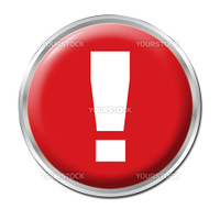 Red round button with the exclamation mark symbol