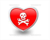 Illustration of heart and skeleton. Editable and scalable vector illustration.