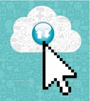 Arrow cursor clicking on a cloud with icons of social media on blue background.  Vector file available.