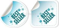 Best seller blue stickers set label. vector illustration