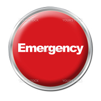 a round red button with a word Emergency