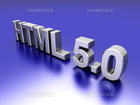 HTML 5.0. 3D rendered Illustration.