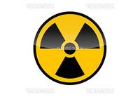 Radioactive round sign isolated on white background