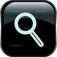 Magnifying Glass Icon on Square Black Internet Button