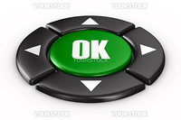 button ok on white background. Isolated 3D image