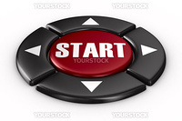 button start on white background. Isolated 3D image