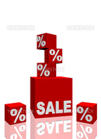 Several red cubes with a percentage sign around a single big one that shows the lettering sale. All on white background.