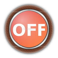 on and off button isolated on white background