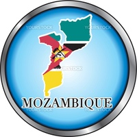 Vector Illustration for Mozambique, Round Button.