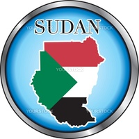 Vector Illustration for the country of Sudan Round Button.